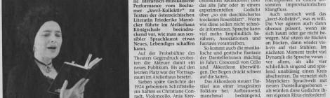 kwr5-Kollektiv in der Recklinghäuser Zeitung, 20.1.2015