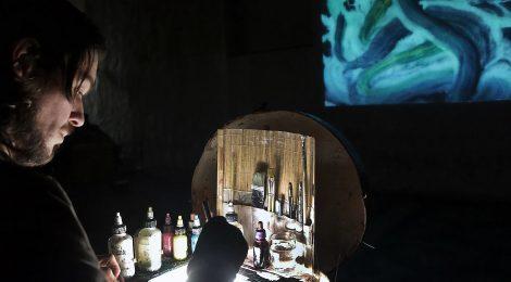 Performance-Konzert mit livepainting-Videobeams & Ausstellung, 1.9.2017, Münster